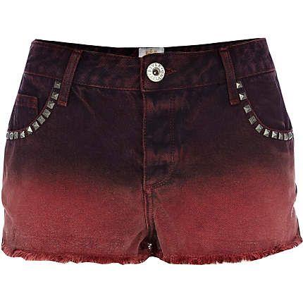 ladies red denim shorts