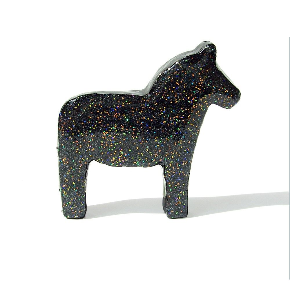 Dala Horse Figurine (Black with Pastel Glitter). via Etsy.