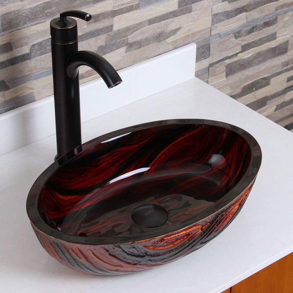Bathroom Sinks On Ebay elite bathroom molten lava glass vessel sink & oil rubbed bronze