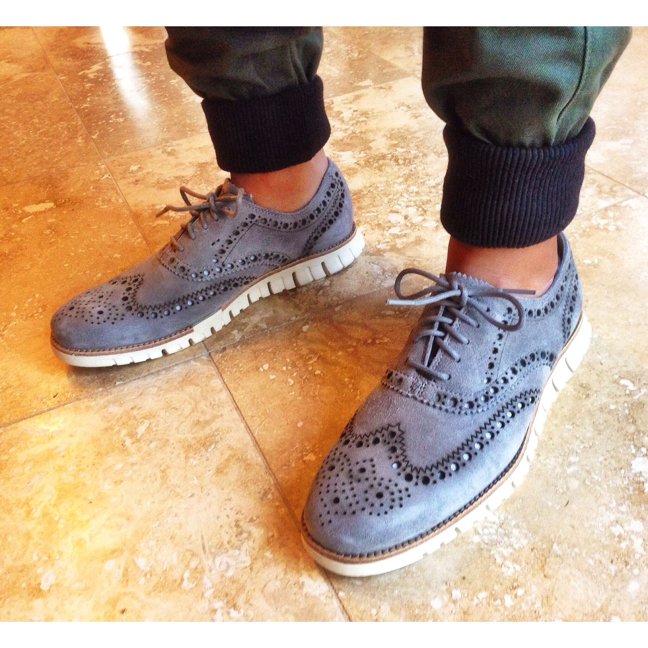 7a3710dc941c men s cole haan zero grand wingtips in ironstone grey. flash hype olive  joggers