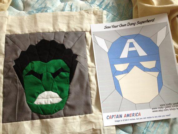 The Incredible Hulk - Quilt Block Pattern SUPERHERO QUILT