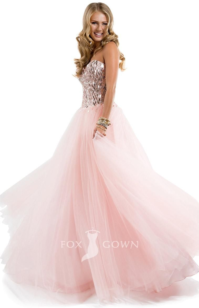 pink long tulle ball gown prom dress with sequined bodice ...