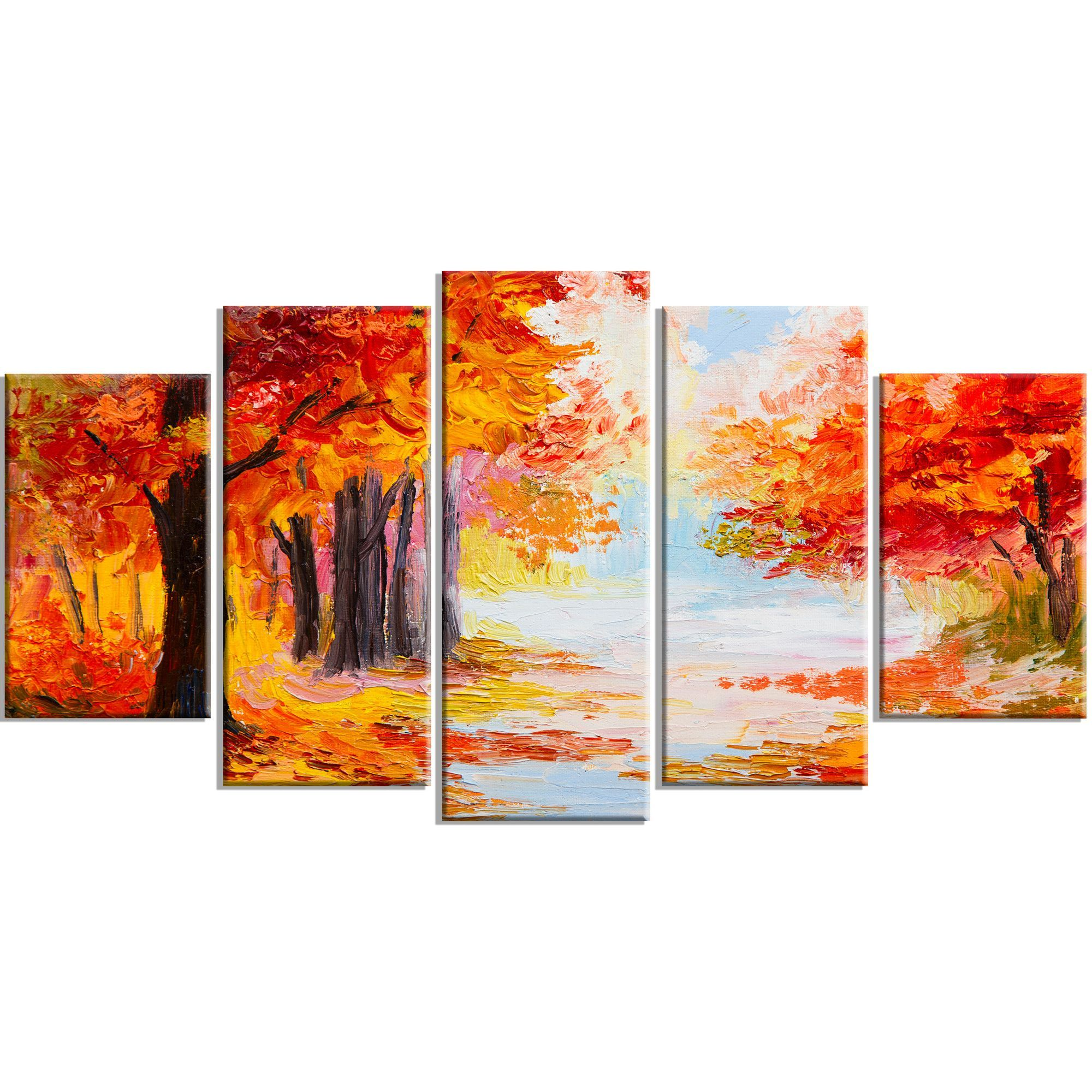 Orange Forest in Autumn Landscape 5 Piece Painting Print on Wrapped Canvas Set