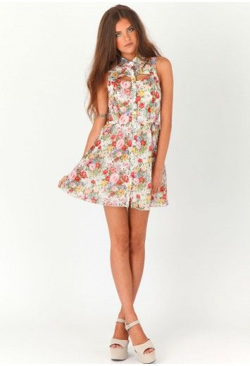 Lucyna Floral Cut Out Dress-dresses-missguided