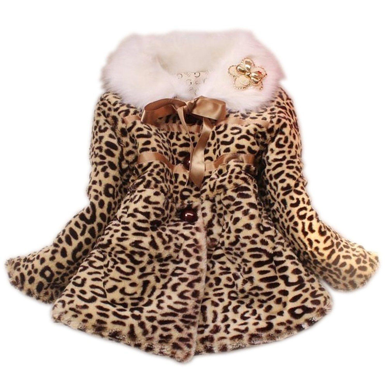 02f8bf872 Baby Toddler Girls Princess Faux Fur Leopard Coat Girls Warm Jacket ...