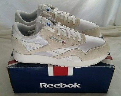42a7ac284cc Reebok Classic Nylon 1-6390 White Light Grey Original Mens Shoes Size 11D  NIB