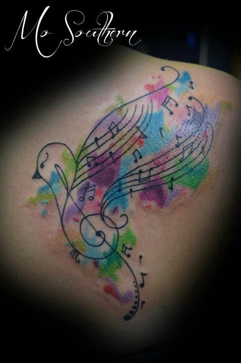 Watercolor Sparrow Music Note Tattoo Instead Of All The Black