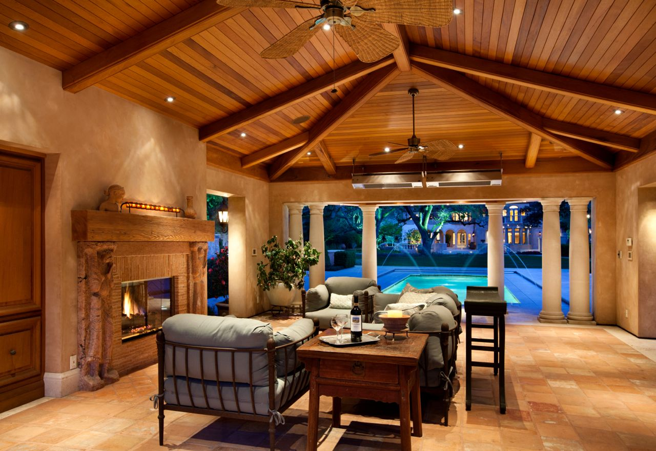partially enclosed cabana with vaulted mahogany ceiling built in
