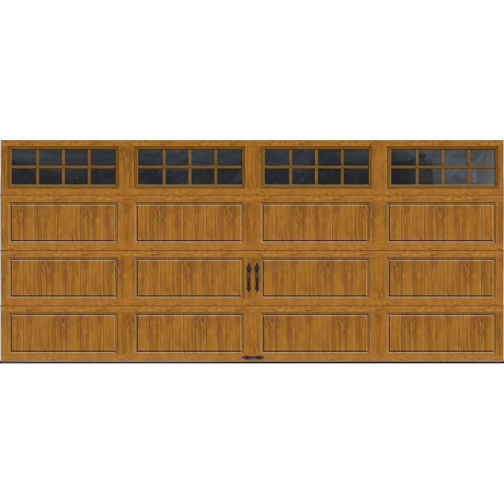 Clopay Gallery Collection 16 Ft X 7 Ft 6 5 R Value Insulated Ultra Grain Medium Garage Door With Sq24 Window Gr1lp Mo Sq24 The Home Depot Garage Doors White Garage Doors Arched Windows