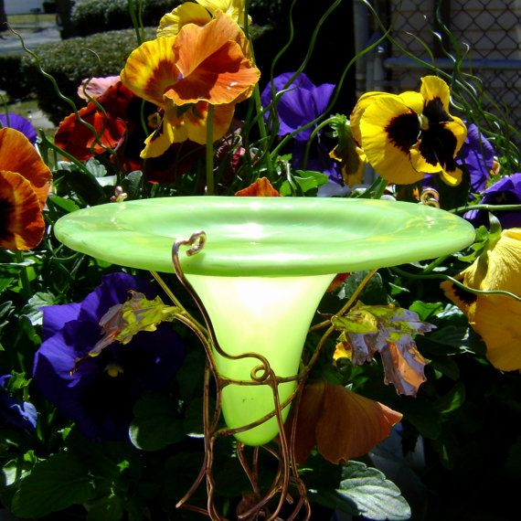 Glass BIRDFEEDER, copper, Chartreuse Green, Home Decor, Outdoor, housewares, stained glass