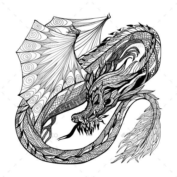 Download Sketch Dragon Illustration (With images) | Dragon illustration