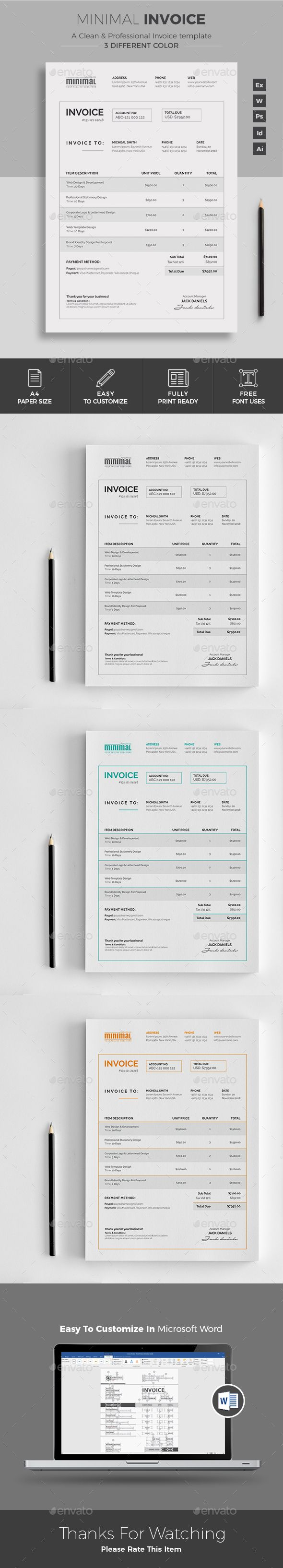 Ms Word Proposal Template Invoice  Pinterest  Template Ai Illustrator And Proposal Templates