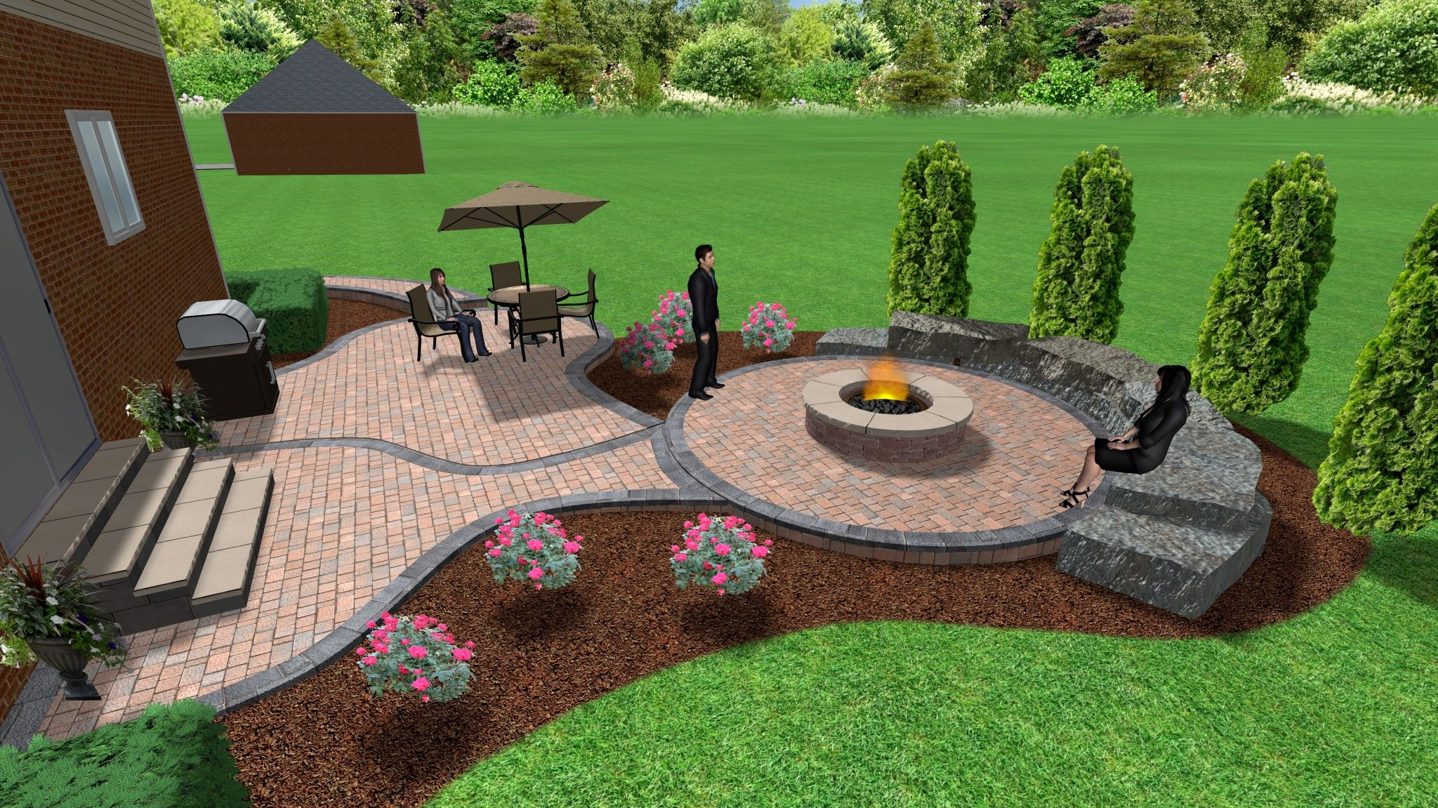 Brick paver patio and fire pit 3d landscape designs for Back garden patio ideas