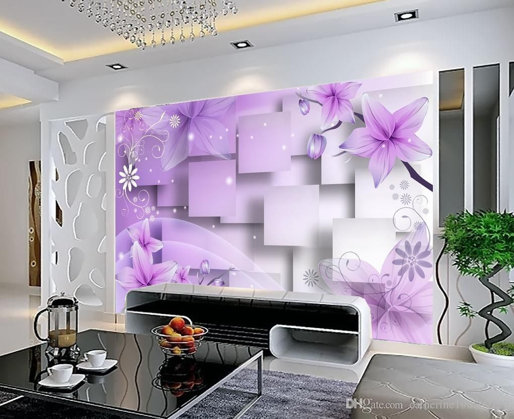 Photo Customize Size 3d Purple Warm Flowers Tv Wall Mural 3d Wallpaper 3d Wall Papers F Living Room Decor Curtains Diy Living Room Decor Wall Decor Living Room