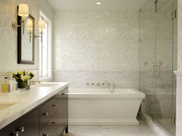 Bathrooms Porcher Lutezia Freestanding Soaking Tub White Ivory Cream Gray Mosaic Tiles Damask Wall With Images Bathroom Remodel Master Mosaic Bathroom Tile Tile Bathroom