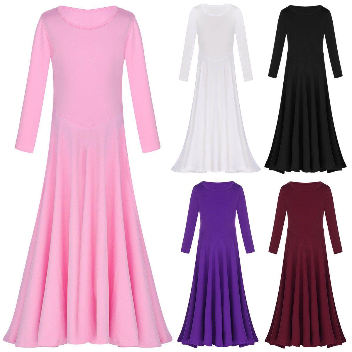 Girls kids praise liturgical dress long sleeve ballet dance costume