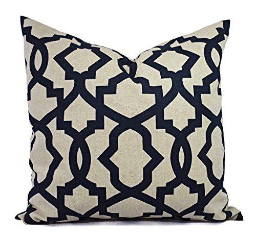 Dark Blue And Beige Waves Pillow Shams Navy Pillow Covers Linen Unique Sheffield Home Decorative Pillows