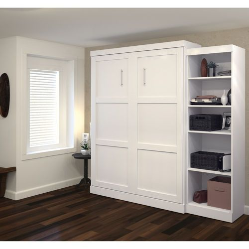 Boutique Queen Wall Bed With One 25 Open Storage Unit In White Murphy Bed Plans Murphy Bed Modern Murphy Beds