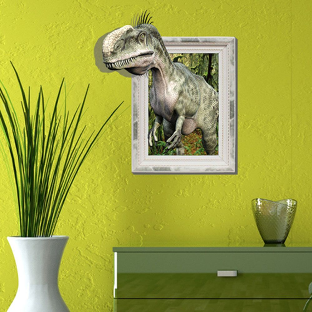 Fashion Dinosaur Paint Wall Art Sculpture Indoor PVC Self Adhesive ...