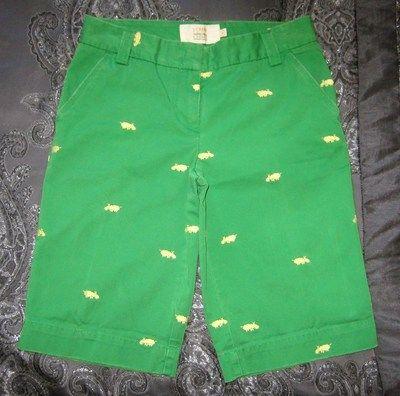 Size 6 J. CREW Classic Twill CHINO City Fit Green Casual Bermuda Critter Shorts