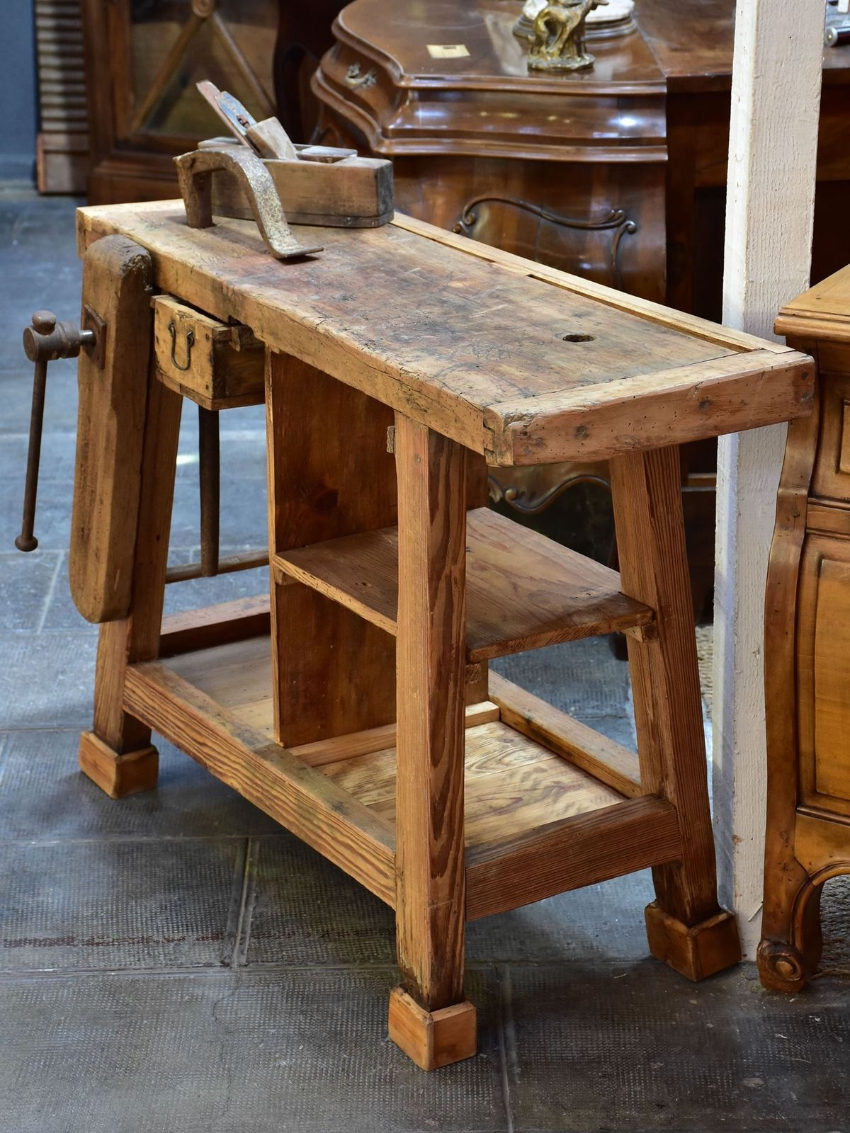 details about rustic vintage french wooden workbench
