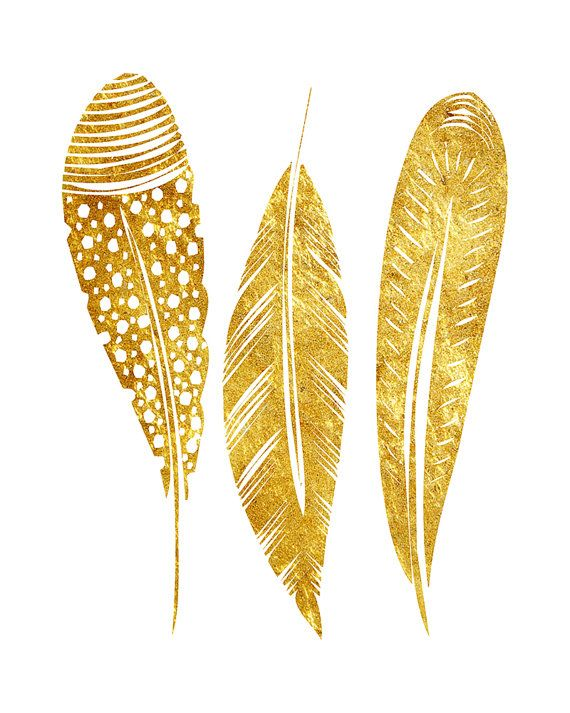 Feather Art Modern Minimalist Gold Feather by ...