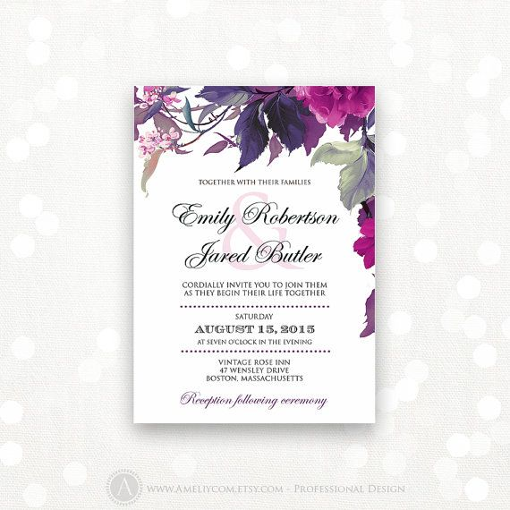 Printable Wedding Invitation Lilac Purple Weddings Invite Modern