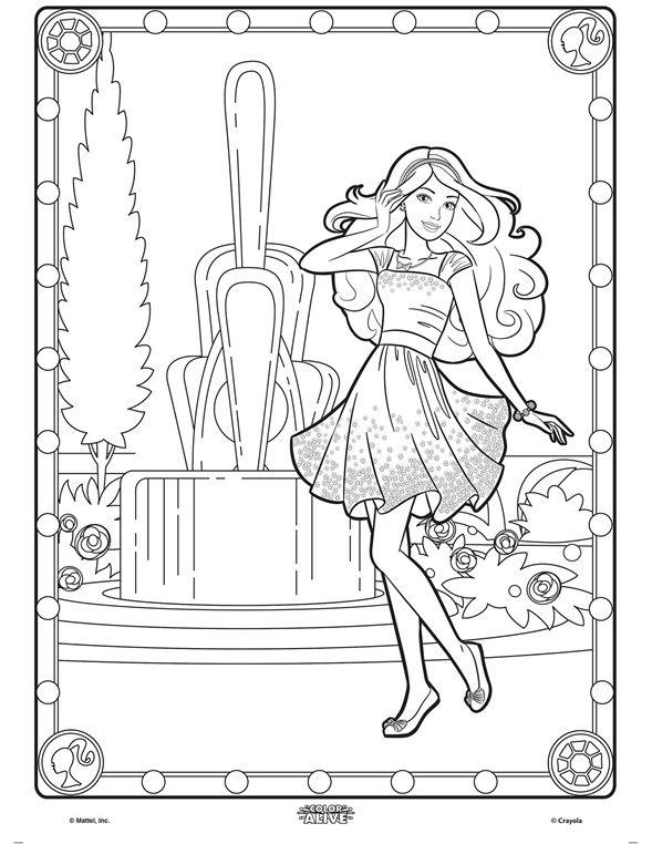 Color Alive Barbie on crayola.com | Coloring Pages | Pinterest ...