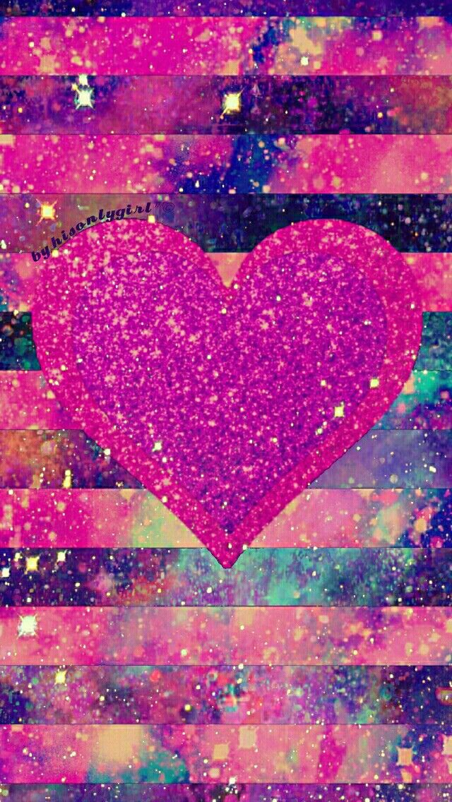 Striped heart galaxy iPhone and android wallpaper I ...