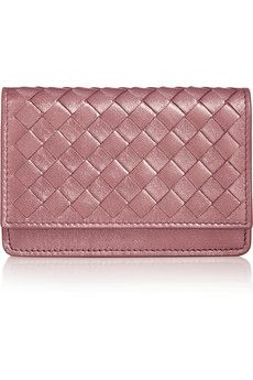 Bottega Veneta Intrecciato metallic leather card holder | NET-A-PORTER