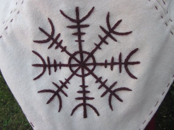 Skjoldehamn Viking Hood with Ægishjálmur Embroidery  by Wyrdcraft, $65.00