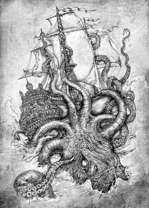 giant octopus Tumblr Nautical Pinterest Sea monsters