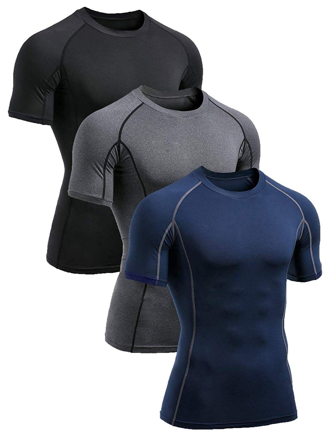 Men's 3 Pack Athletic Compression Baselayer Cool Dry