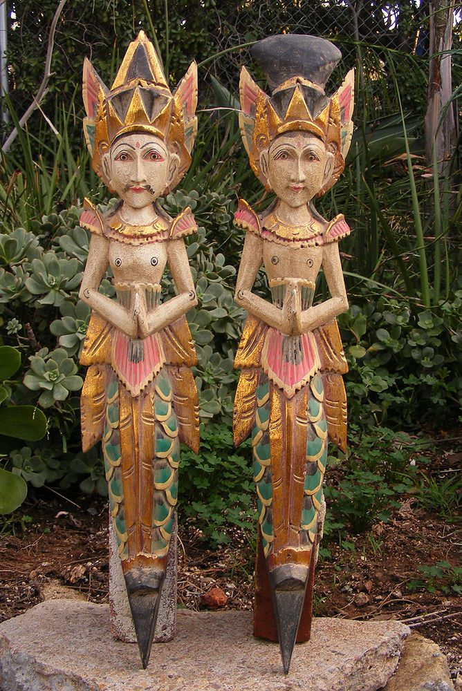 Bali Rama Sita Wood Wall Statue Mask Hindu Set Of 2 Hand Made 24 Ethnic Arts And Home Decor