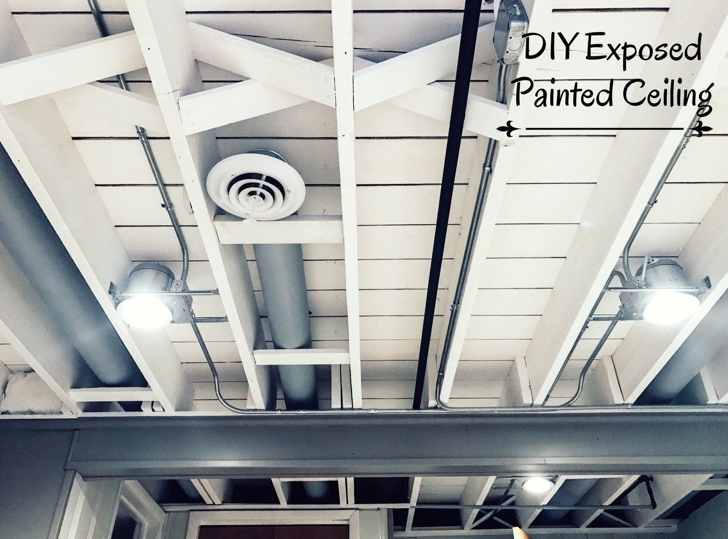 Diy painted basement ceiling project basement ceilings Diy basement finishing ideas