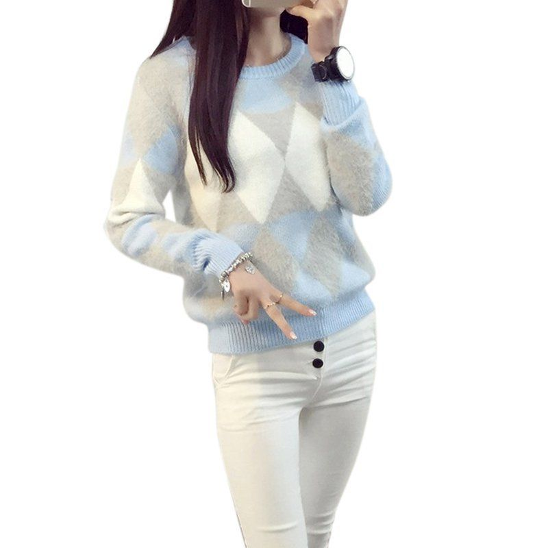 Winter Warm Women Ladies O-Neck Knitted Sweater Tops Long Sleeve Pullover Jumper Blouse