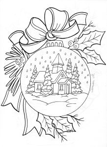 Christmas Ornament Church Scene Free Coloring Page For Adults