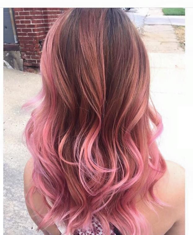 pastel pink highlights in brown hair hair color ideas