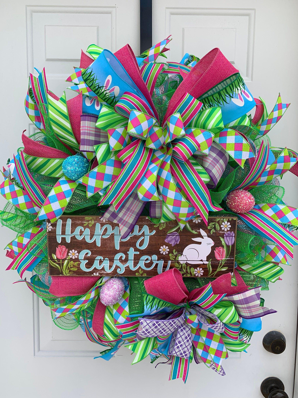 Photo of Easter Wreath, Front Door Decor Door Decor, Happy Easter Wreath, Deoco Mesh Wreath,