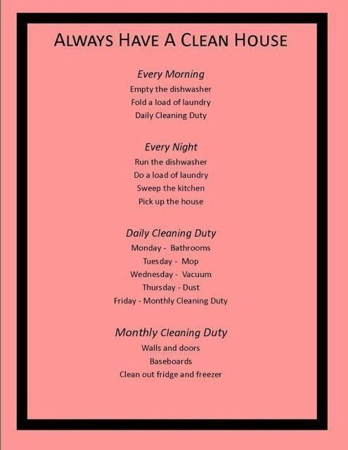 monthly cleaning chart