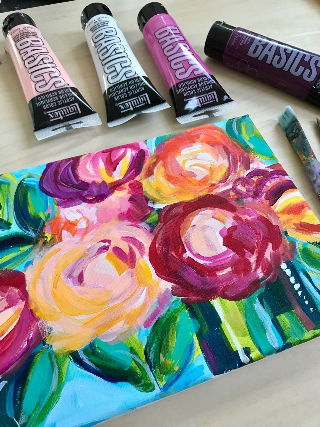 How To Paint Abstract Florals With Acrylic Paints Flower Painting