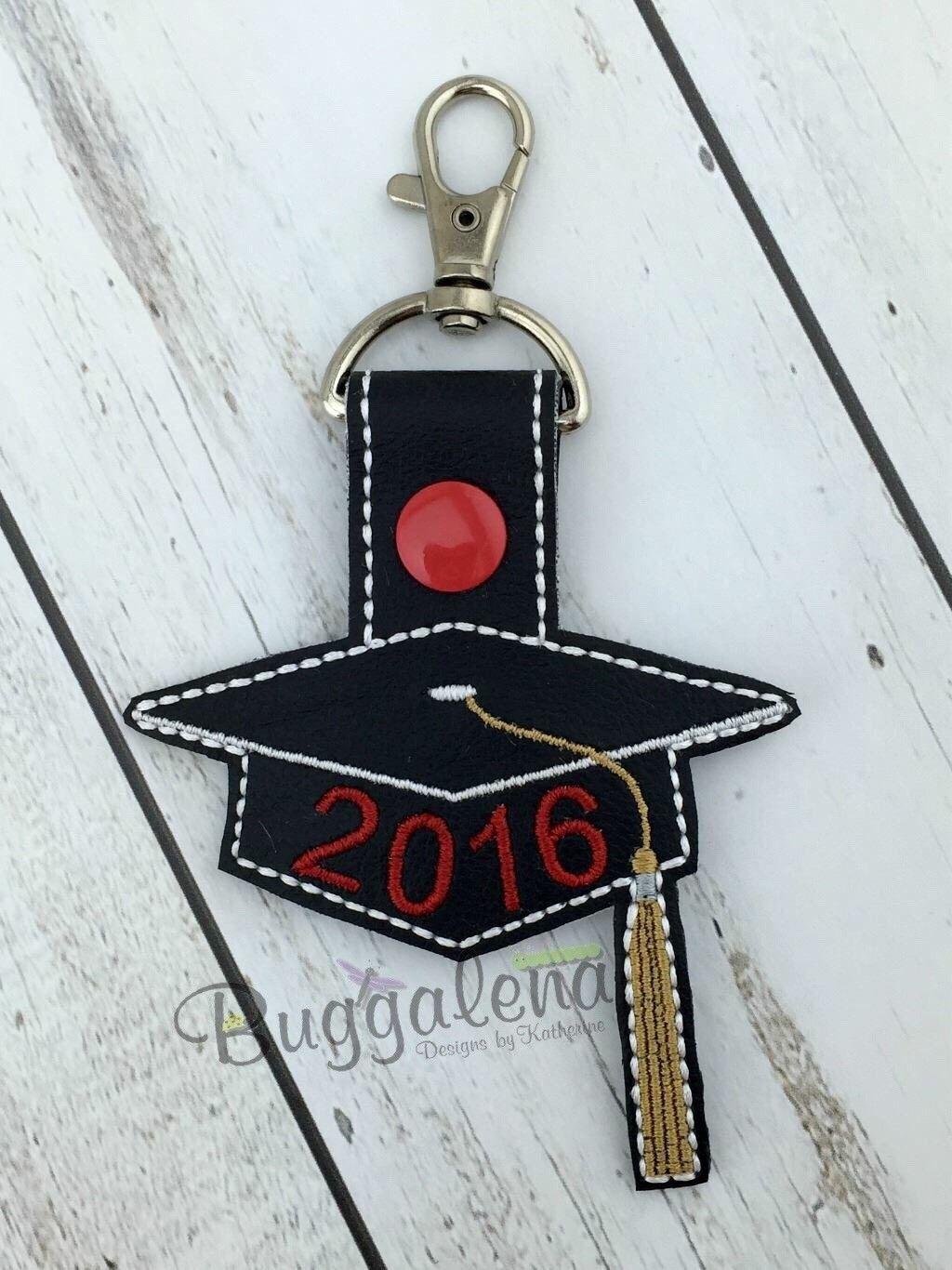 Graduation Cap 2017 Snap Tab Key Fob Embroidery Design
