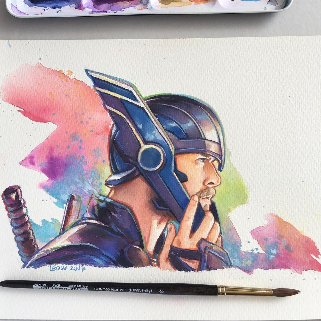 Thor Watercolor Painting By Leow Drawing Class Marvel Thor