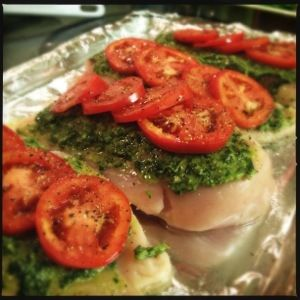 Pesto Chicken Bake. ***healthy, low fat dinner. Cooked chicken for longer depending on size..