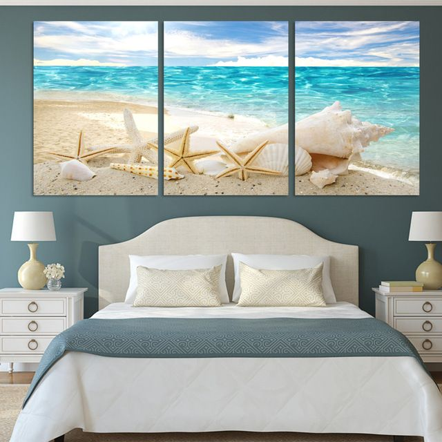 3 pe as de mur art d co seaview coquillages moderne mode - Impression sur tissu maison ...