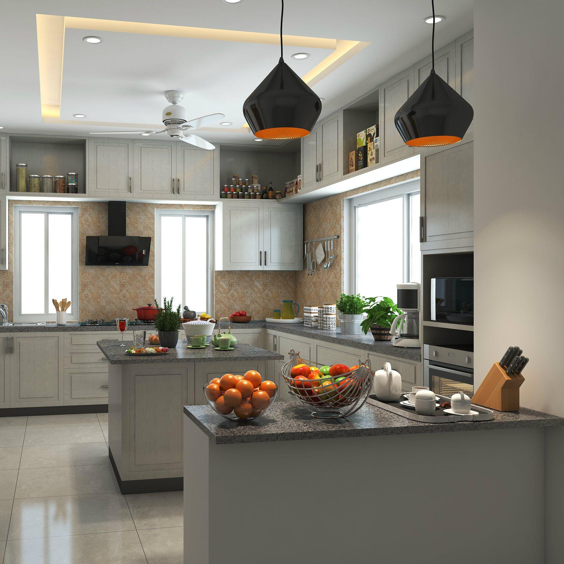 An Elegant Kitchen With Beautiful Pendant Lights White Island