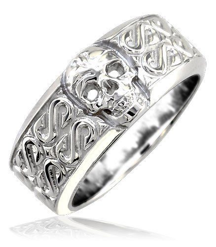 Mens or Ladies Wide Skull Ring Wedding Band with S Pattern 9mm