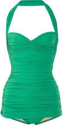 ShopStyle: Norma Kamali Bill ruched halterneck swimsuit