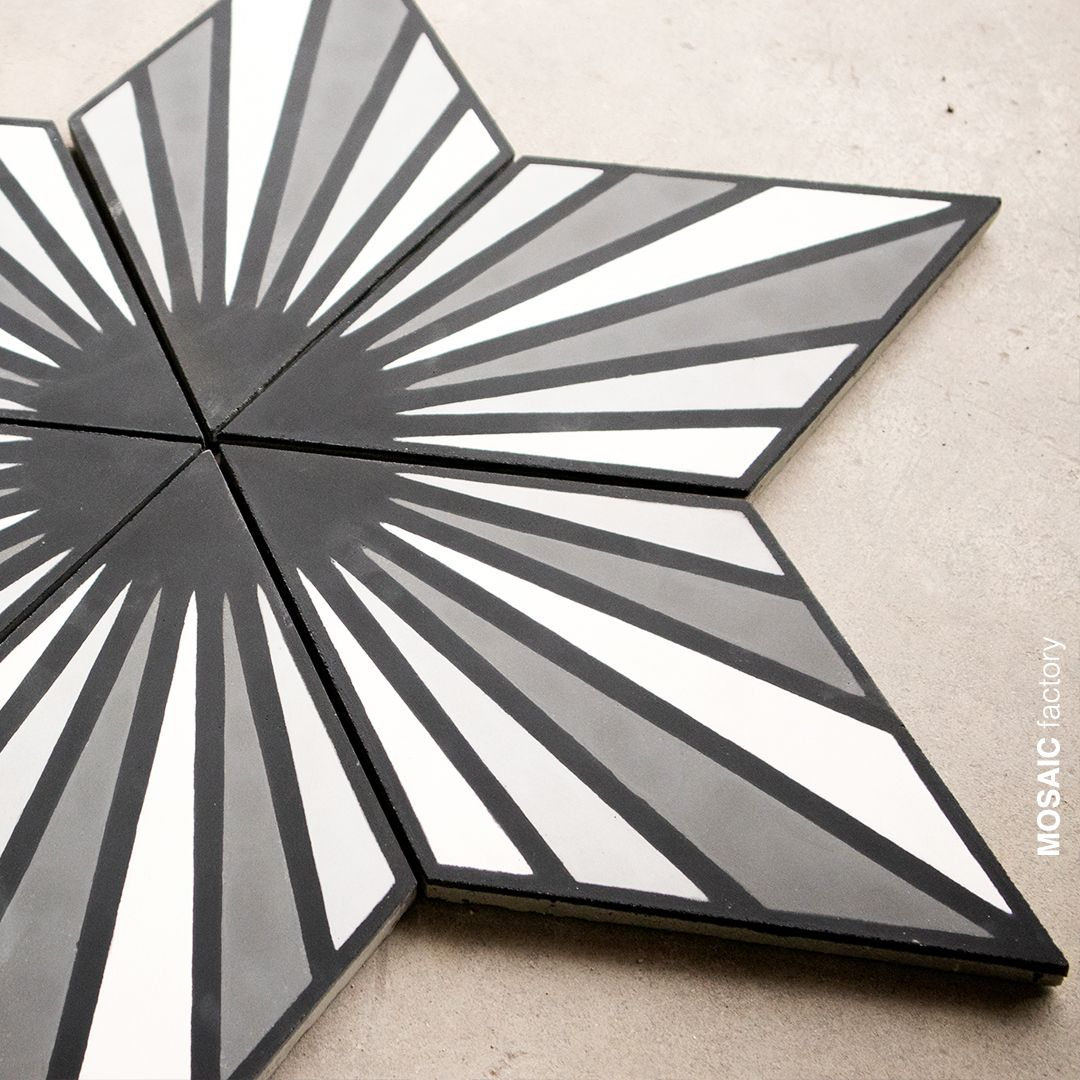 Diamond Shaped Cement Tile With Grey