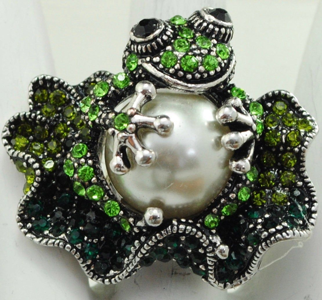 Frog Statement Ring/Lily Pad/Silver/Green/Rhinestone/Pearl